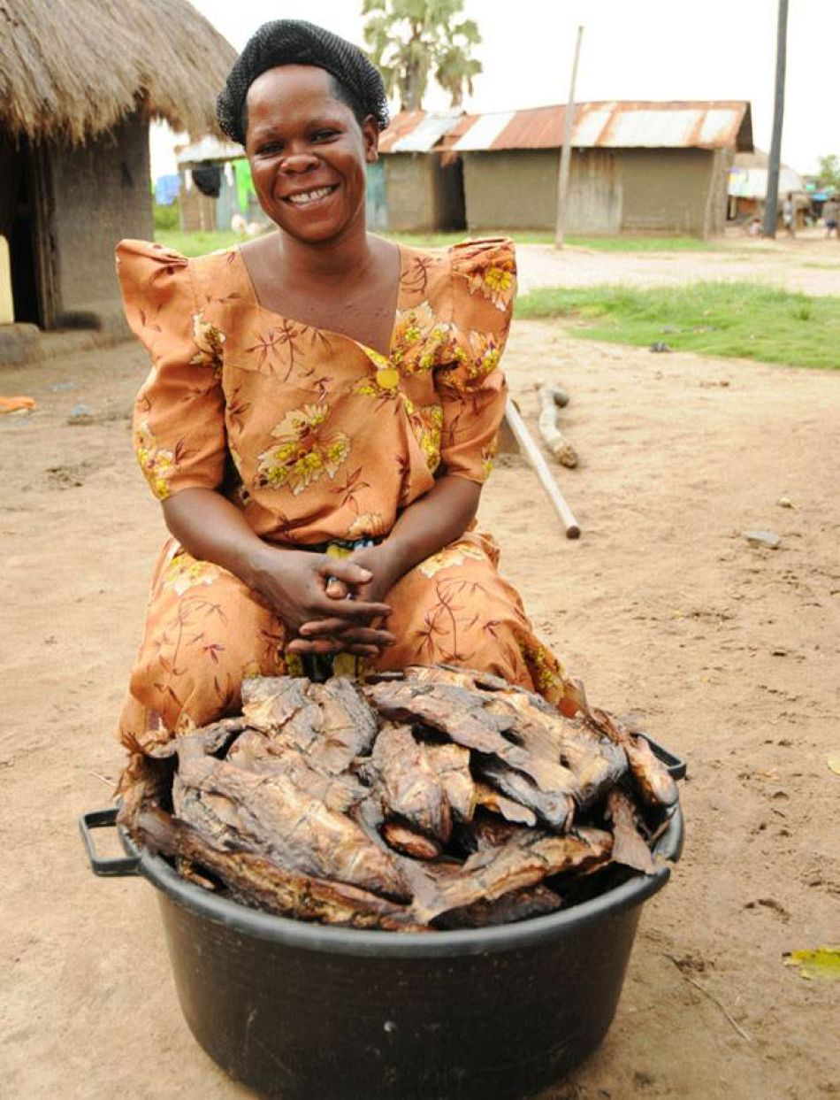 pBamukuraki Joyce borrowed 50000 shillings to buy fish from the local fishermen to smoke and sell at the marketp