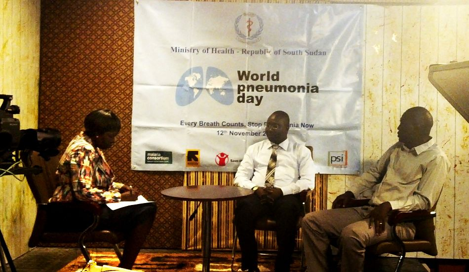 pDr Robert Lobor and Dr Justin Tongun on lsquoAsk A Doctorrsquo programme on South Sudan TV hosted by Dr Victoria Achut on 14supthsup112014 to discuss FAQs on pneumonia as part of MoHSouth Sudan activities to mark World Pneumonia DayppCopyright Ministry of HealthRepublic of South Sudanp