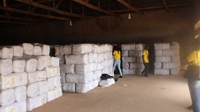 Thousands of LLINs waiting to be distributed from the provincial store, Lichinga
