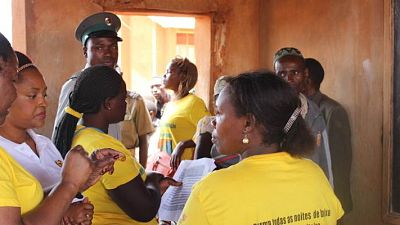 Distribution staff confirm recipient households with the local leaders