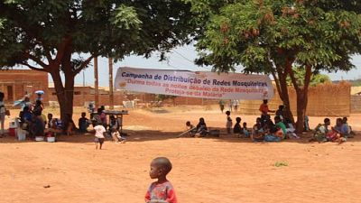 Banners displayed in the suburb of Lichinga to publicise the distribution among the local population