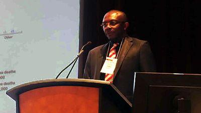 Malaria Consortium Africa Technical Director, Dr Ebenezer Baba,presenting on progress towards universal access to pneumonia treatment