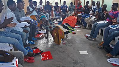 The training sessions were very lively, and participants also developed their own songs and dances to illustrate participatory facilitation techniques for successful community dialogues.