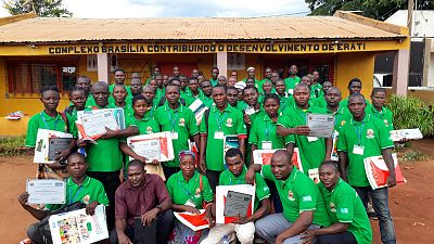 At the end of the training, community dialogue facilitators received individual badges and branded t-shirts for identification within their community, together with the visual flipcharts and the Community Dialogue Guidebook as their key study materials. These are the community dialogue facilitators from phase two, trained in three NTDs in Erati District.