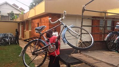 Here, the bicycles are temporarily being stored until transport arrangements have been made.