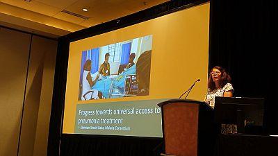 Malaria Consortium US Representative, Madeleine Marasciulo, moderates the symposium