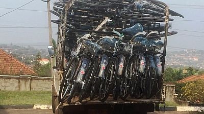 A truck carrying 43 donated bicycles arrives at the Malaria Consortium's office in Kampala.