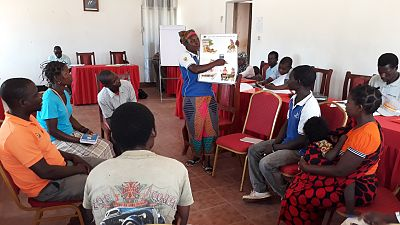 228 volunteers were trained across the four target districts using adult learning techniques adapted for low-literacy audiences. Most of these people were traders, farmers, health activists and health committee members who volunteered to organise dialogues in their own villages. The training methodology used a lot of practical and group work exercises to familiarise the trainees with the visual materials. This picture shows group work in Murrupula district.