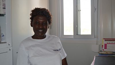 Abbo Anastasia, Enrolled Midwife, working at the temporary clinic.