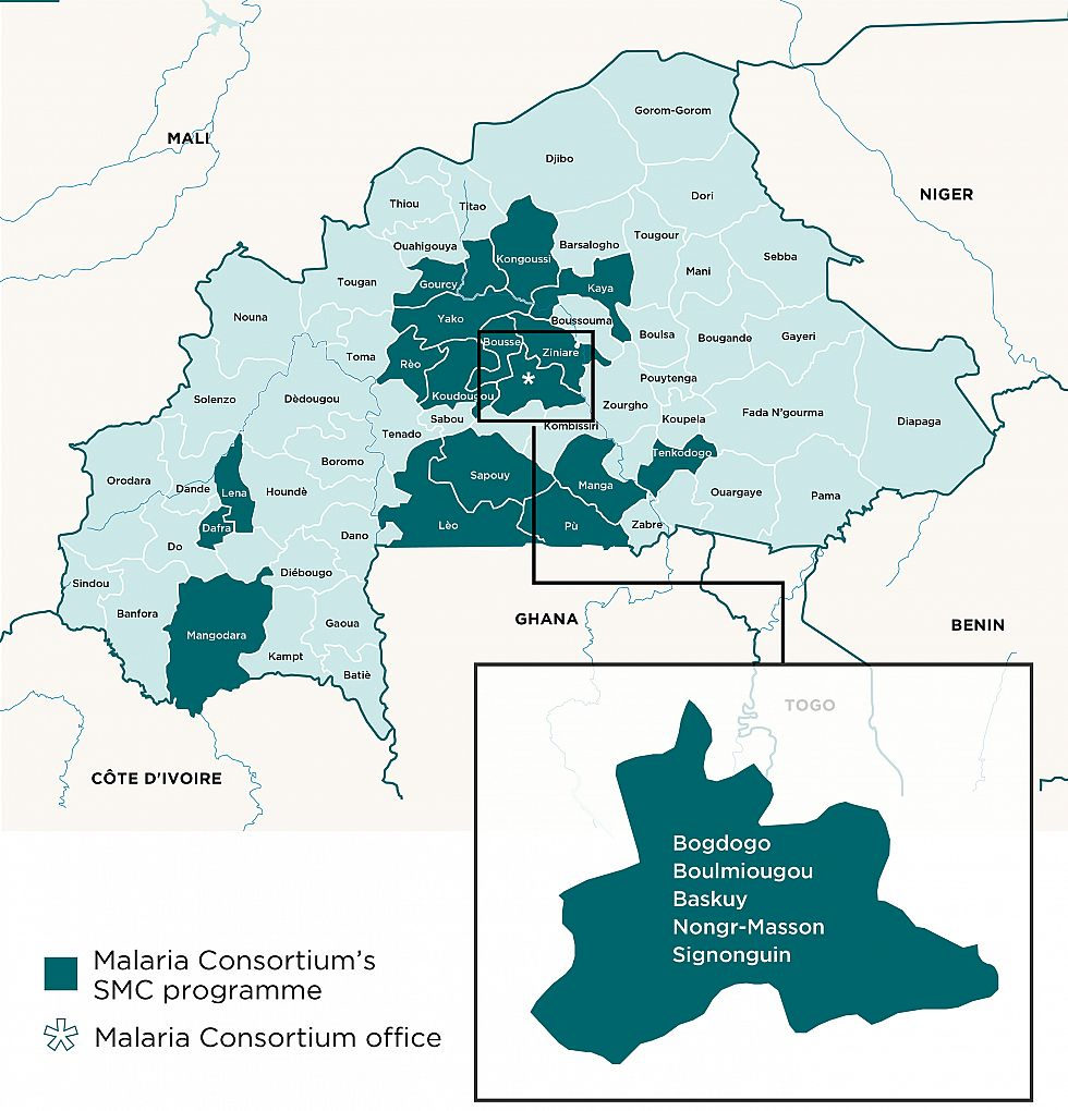 Malaria Consortium Burkina Faso - Burkina faso map